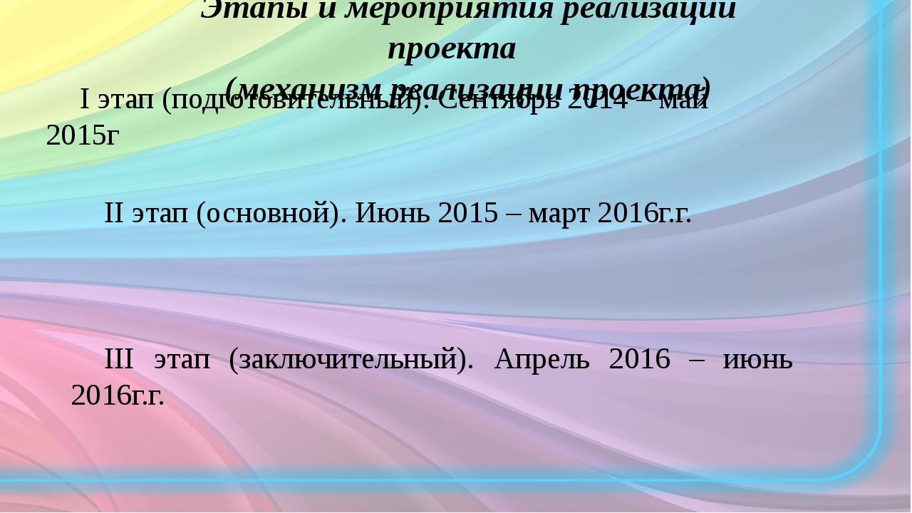 Этапы и мероприятия реализации проекта (механизм реализации проекта) I этап (...