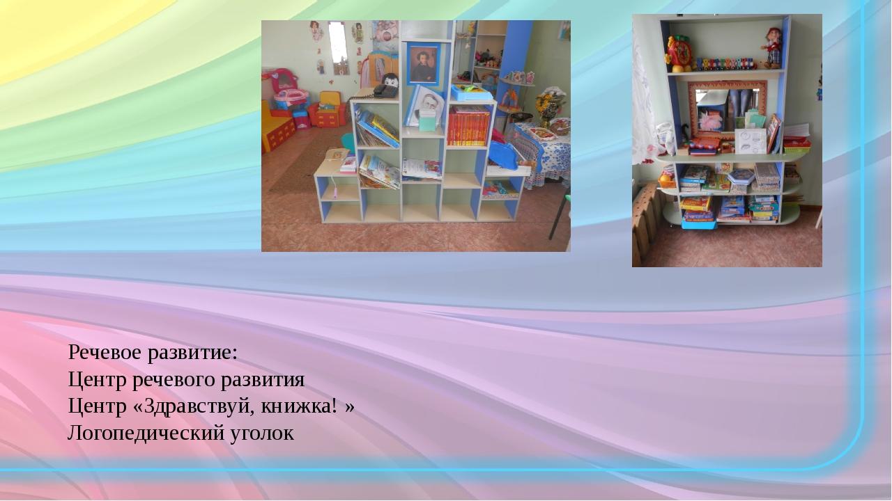 Речевое развитие: Центр речевого развития Центр «Здравствуй, книжка! » Логопе...