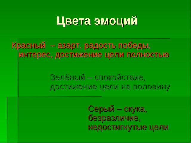 Цвета эмоций Красный – азарт, радость победы, интерес, достижение цели полнос...