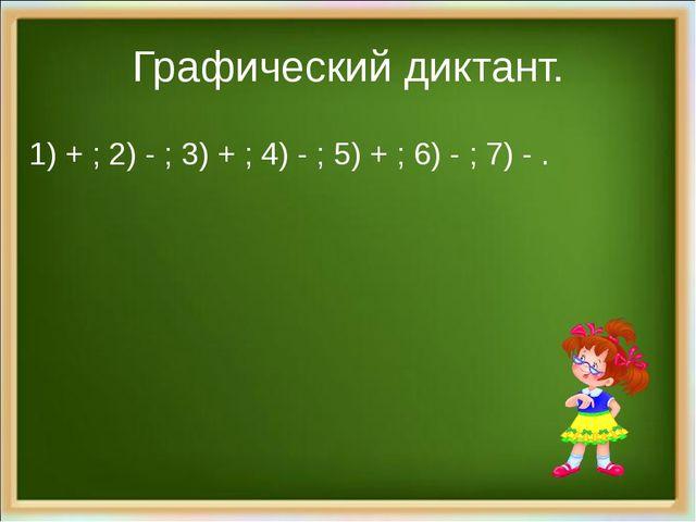 Графический диктант. 1) + ; 2) - ; 3) + ; 4) - ; 5) + ; 6) - ; 7) - .
