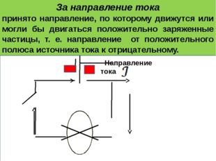 За направление тока принято направление, по которому движутся или могли бы д