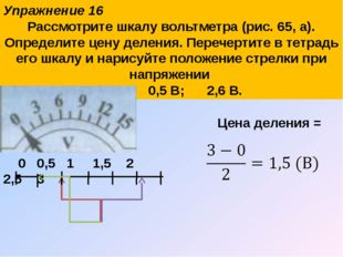 Упражнение 16 Рассмотрите шкалу вольтметра (рис. 65, а). Определите цену деле