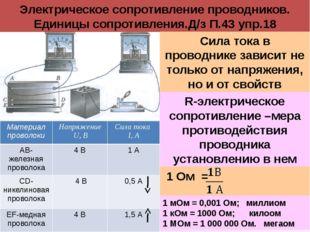 Электрическое сопротивление проводников. Единицы сопротивления.Д/з П.43 упр.1
