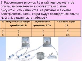 5. Рассмотрите рисунок 71 и таблицу результатов опыта, выполняемого в соответ
