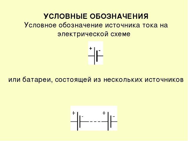 УСЛОВНЫЕ ОБОЗНАЧЕНИЯ Условное обозначение источника тока на электрической схе...