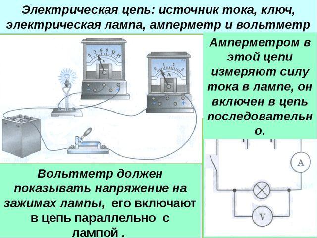 Электрическая цепь: источник тока, ключ, электрическая лампа, амперметр и вол...