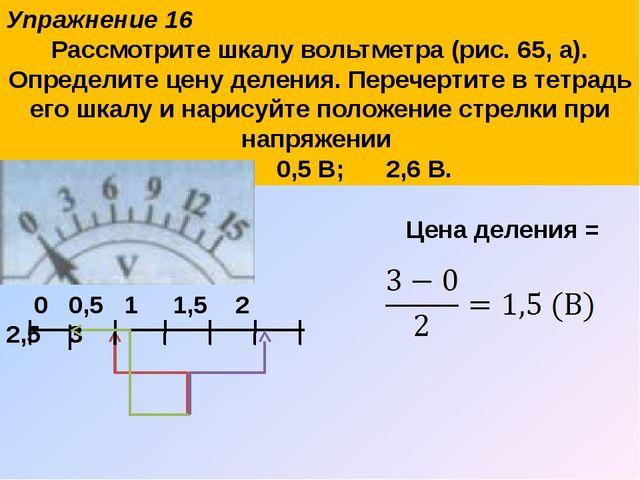 Упражнение 16 Рассмотрите шкалу вольтметра (рис. 65, а). Определите цену деле...