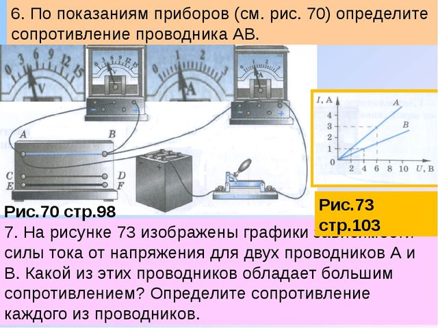 7. На рисунке 73 изображены графики зависимости силы тока от напряжения для д...
