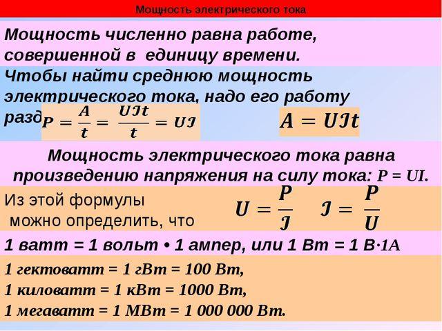 Мощность электрического тока Чтобы найти среднюю мощность электрического тока...
