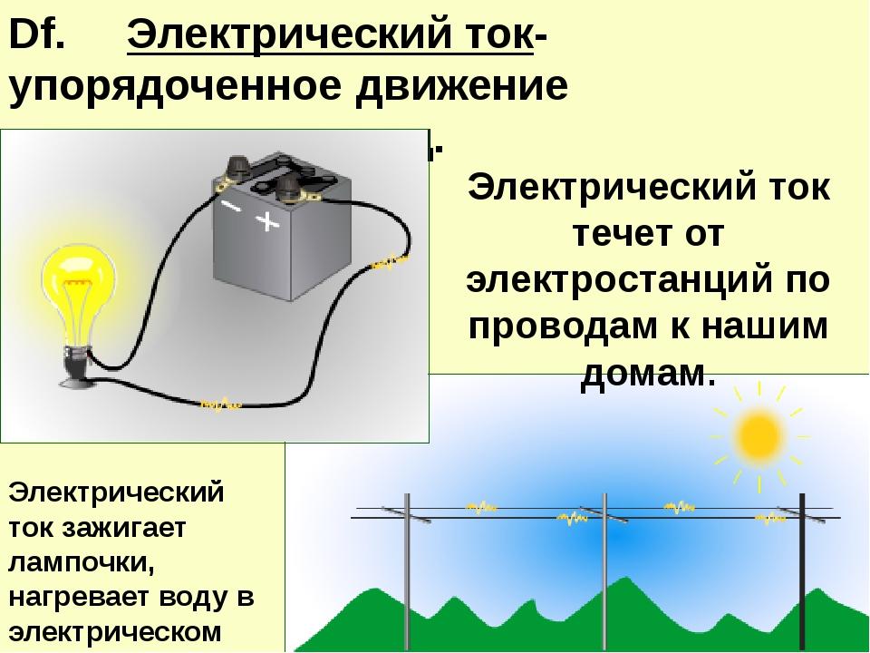 Df. Электрический ток- упорядоченное движение заряженных частиц. Электрическ...