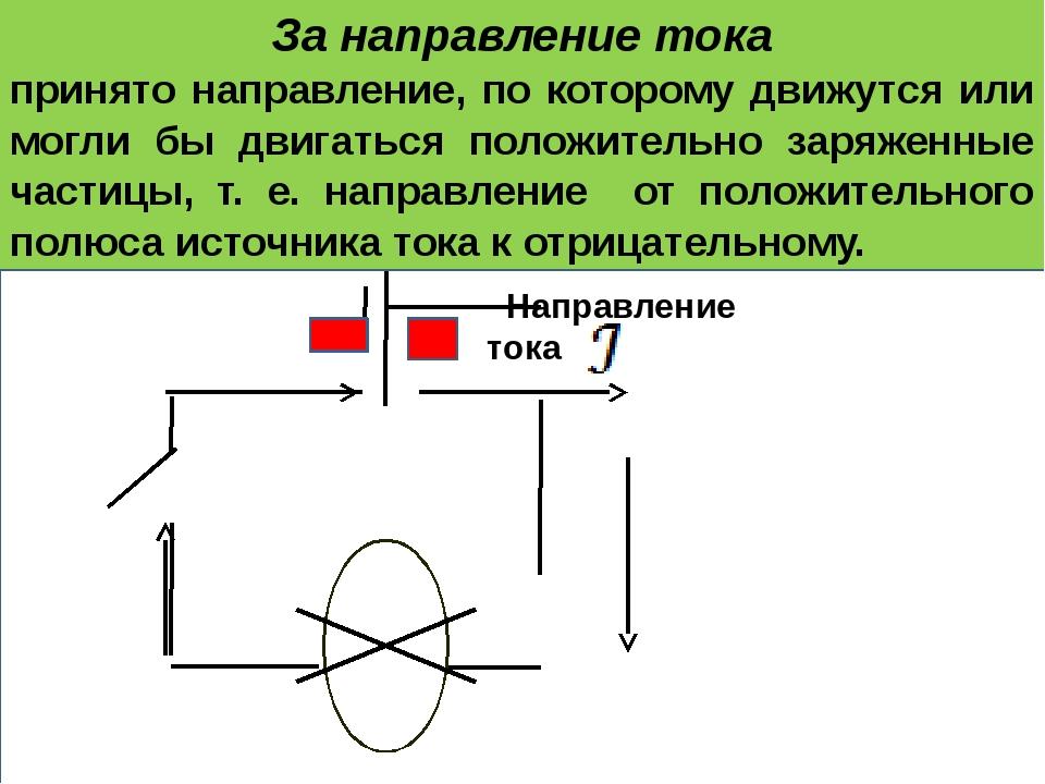 За направление тока принято направление, по которому движутся или могли бы д...