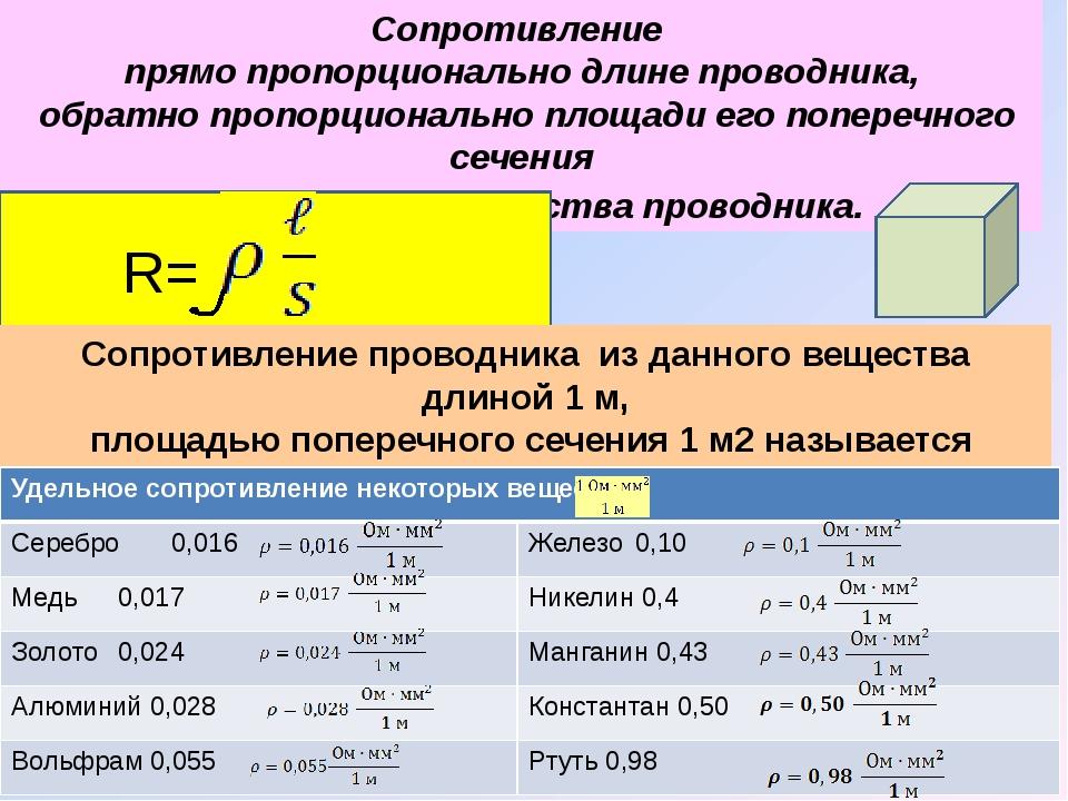 Сопротивление прямо пропорционально длине проводника, обратно пропорционально...