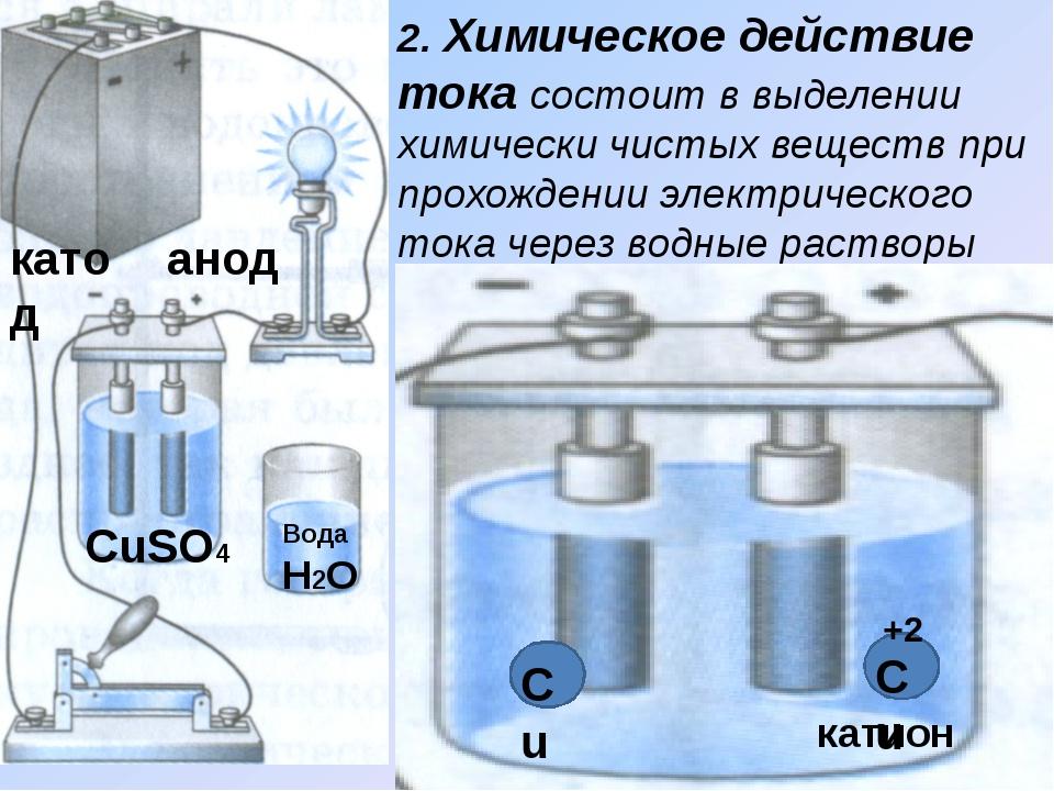 2. Химическое действие тока состоит в выделении химически чистых веществ при...