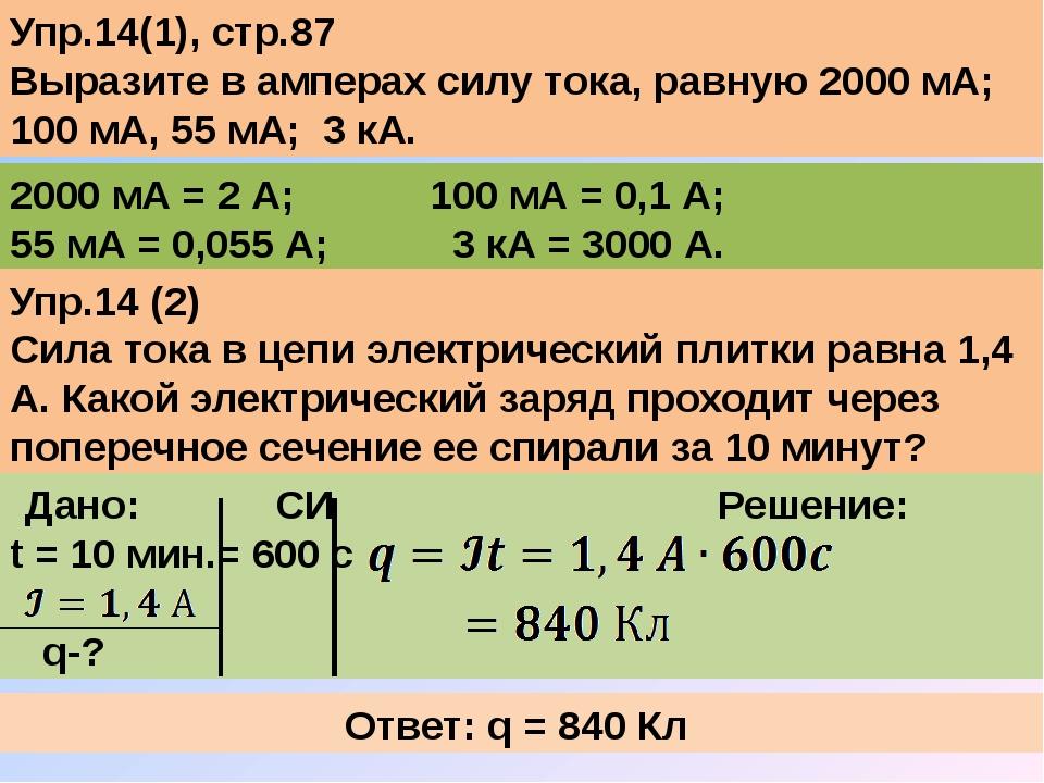 Упр.14(1), стр.87 Выразите в амперах силу тока, равную 2000 мА; 100 мА, 55 мА...
