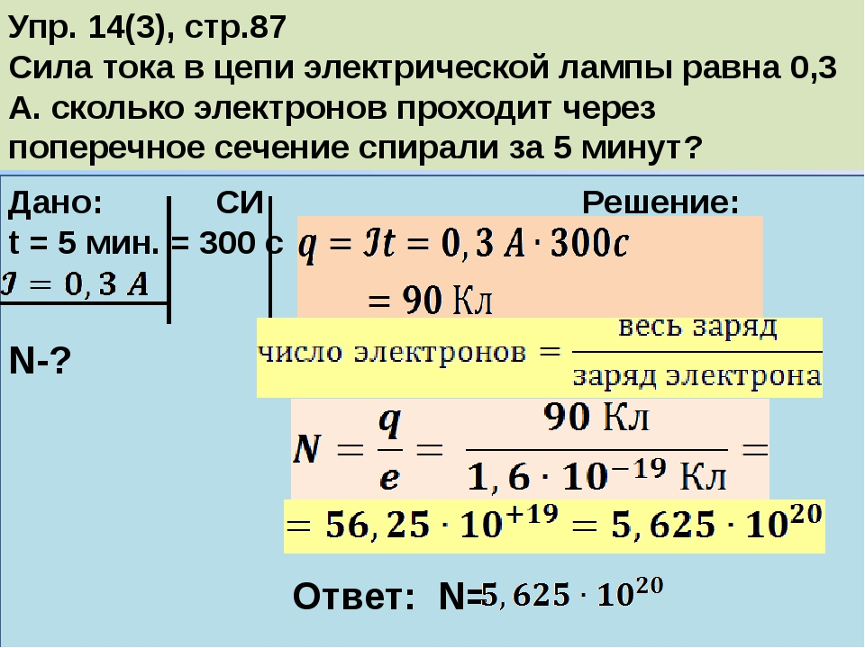 Упр. 14(3), стр.87 Сила тока в цепи электрической лампы равна 0,3 А. сколько...