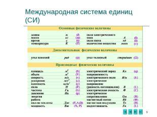 * Международная система единиц (СИ)