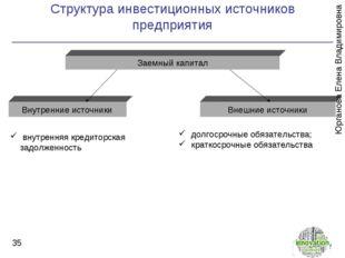Структура инвестиционных источников предприятия * Заемный капитал Внутренние