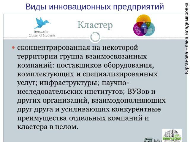 Виды инновационных предприятий Юрганова Елена Владимировна