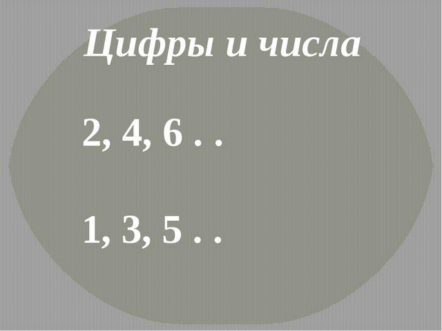 Цифры и числа 2, 4, 6 . . 1, 3, 5 . .