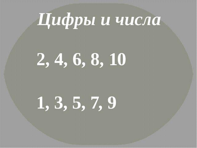 Цифры и числа 2, 4, 6, 8, 10 1, 3, 5, 7, 9