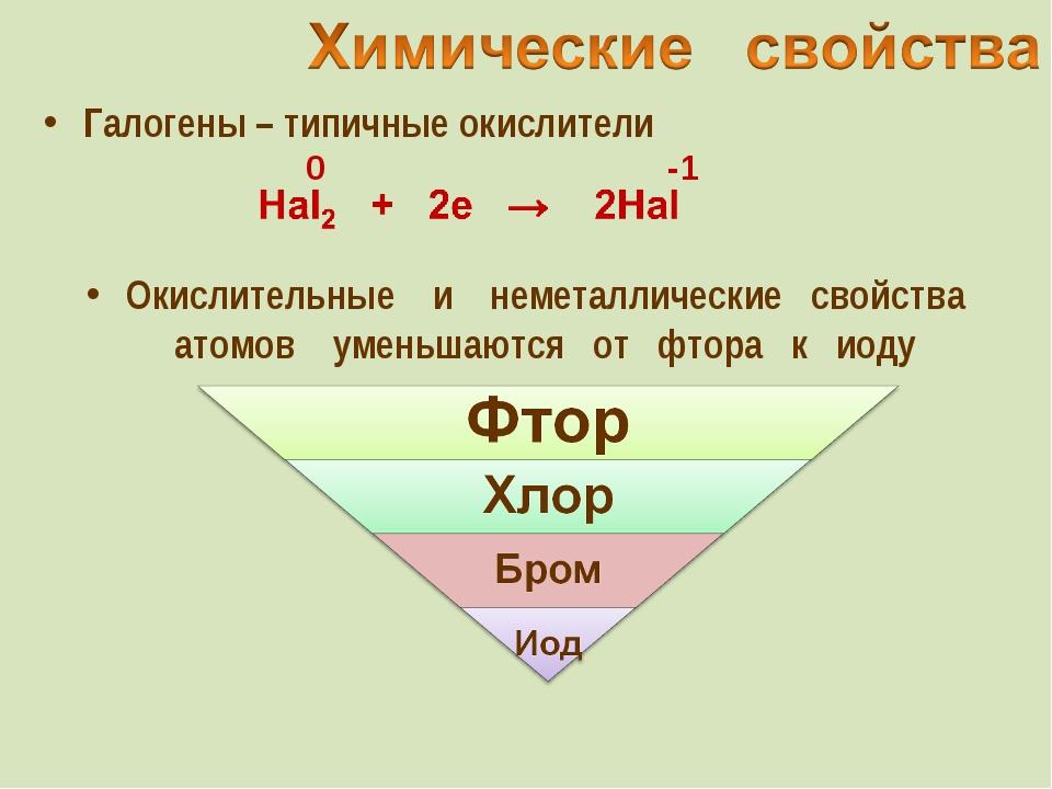Галогены – типичные окислители -1 Окислительные и неметаллические свойства ат...