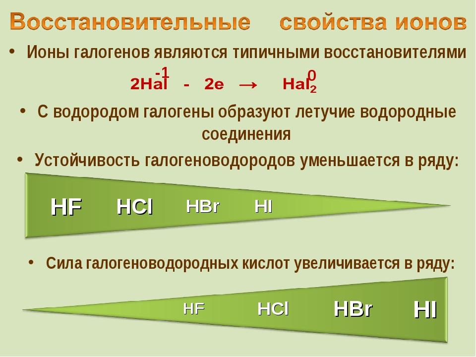 Ионы галогенов являются типичными восстановителями С водородом галогены образ...