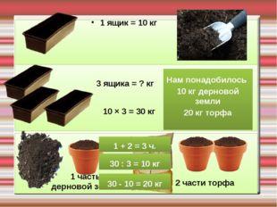 1 ящик = 10 кг 3 ящика = ? кг 10 × 3 = 30 кг 1 часть дерновой земли 2 части т