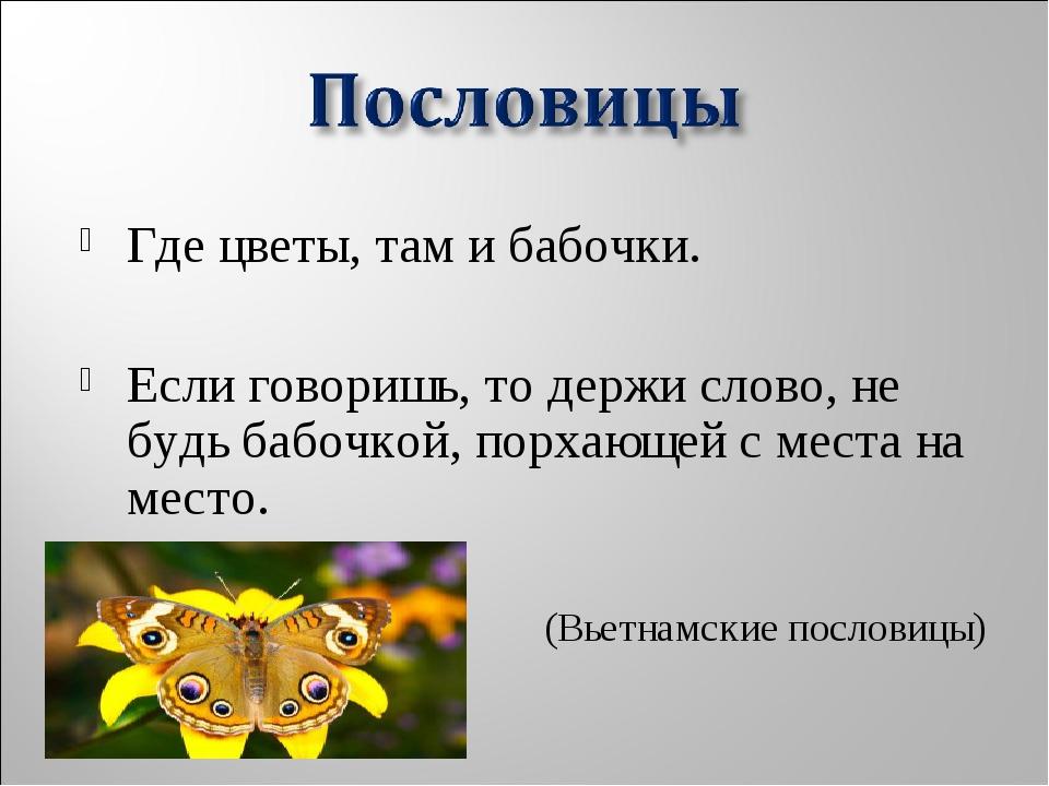 Где цветы, там и бабочки. Если говоришь, то держи слово, не будь бабочкой, п...