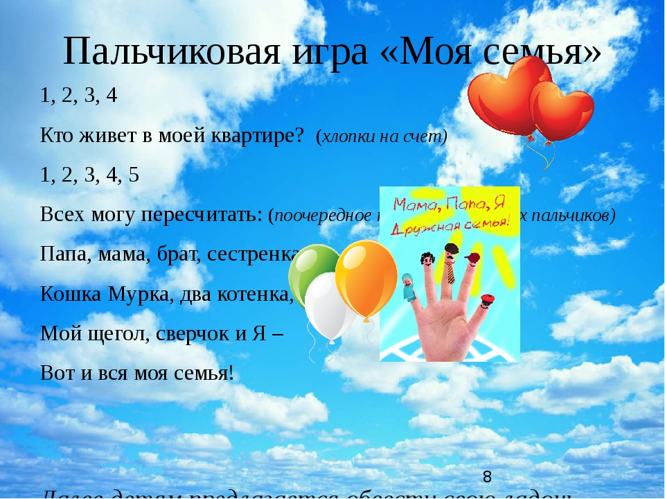 Пальчиковая игра «Моя семья» 1, 2, 3, 4 Кто живет в моей квартире? (хлопки на...