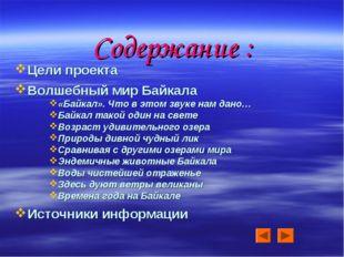 Содержание : Цели проекта Волшебный мир Байкала «Байкал». Что в этом звуке на