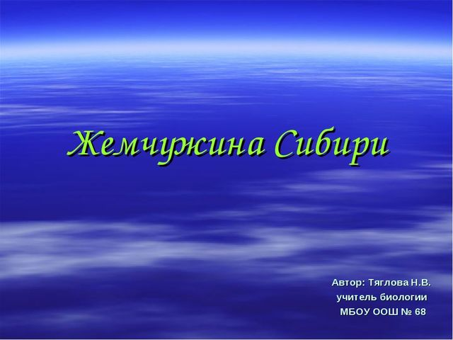 Жемчужина Сибири Автор: Тяглова Н.В. учитель биологии МБОУ ООШ № 68