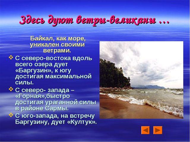 Здесь дуют ветры-великаны … Байкал, как море, уникален своими ветрами. С севе...