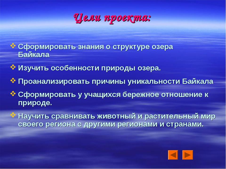 Цели проекта: Сформировать знания о структуре озера Байкала Изучить особеннос...