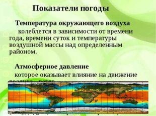 Показатели погоды Температура окружающего воздуха колеблется в зависимости от