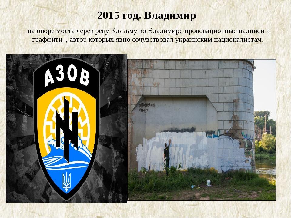 2015 год. Владимир на опоре моста через реку Клязьму во Владимире провокацио...