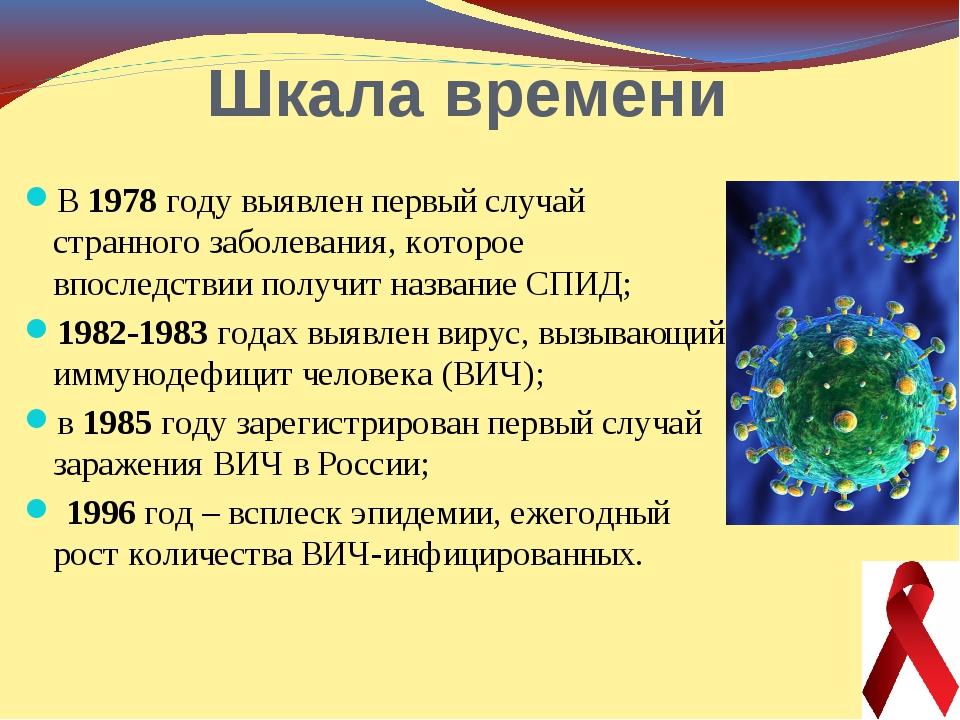 Шкала времени В 1978 году выявлен первый случай странного заболевания, которо...