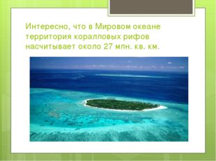 Интересно, что в Мировом океане территория коралловых рифов насчитывает около