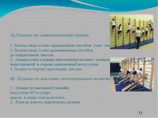 3) Лазанье по гимнастической стенке. 1. Лазанье вверх и вниз одноименным спо