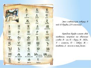 Это славянская азбука, в ней 43 буквы, (19 гласных). Каждая буква имеет своё