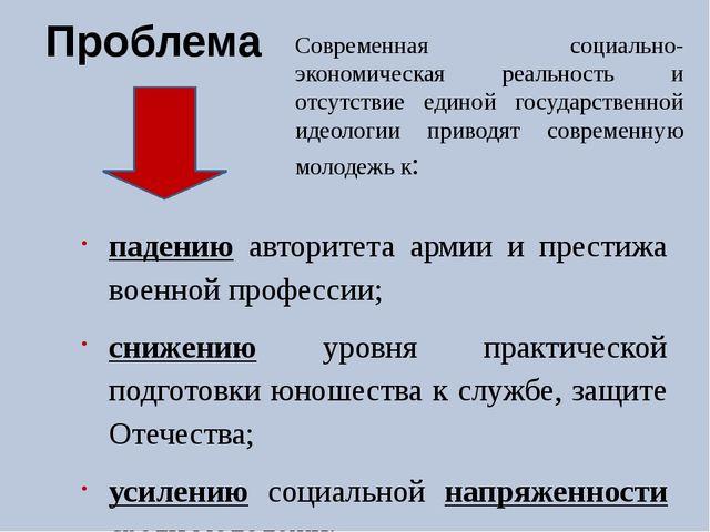 Проблема падению авторитета армии и престижа военной профессии; снижению уров...