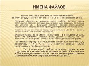 Имена файлов в файловых системах Microsoft состоят из двух частей: собственно