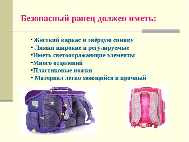 Безопасный ранец должен иметь: Жёсткий каркас и твёрдую спинку Лямки широкие...