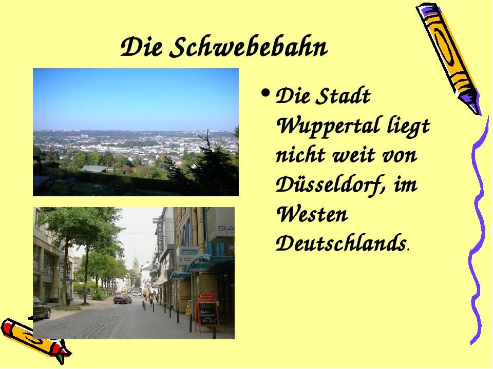 Die Schwebebahn Die Stadt Wuppertal liegt nicht weit von Düsseldorf, im Weste...