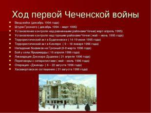 Ход первой Чеченской войны Ввод войск (декабрь 1994 года) Штурм Грозного ( де