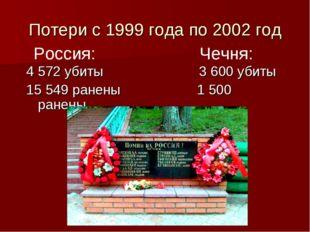 Потери с 1999 года по 2002 год 4 572 убиты 3 600 убиты 15 549 ранены 1 500 ра