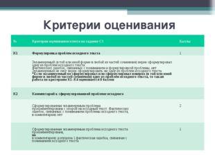 Критерии оценивания №Критерии оценивания ответа на задание С1 Баллы К1Форм