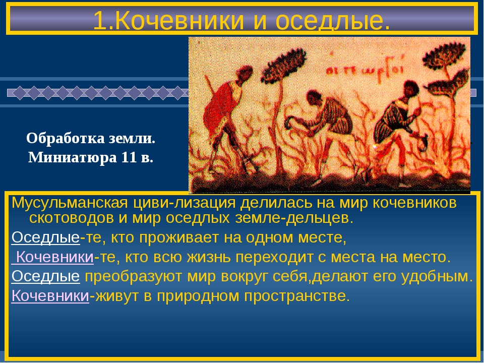 1.Кочевники и оседлые. Мусульманская циви-лизация делилась на мир кочевников...