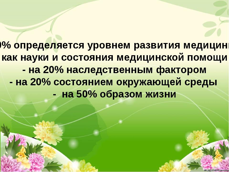 -10% определяется уровнем развития медицины, как науки и состояния медицинск...
