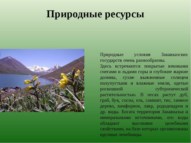 Природные ресурсы Природные условия Закавказских государств очень разнообразн...