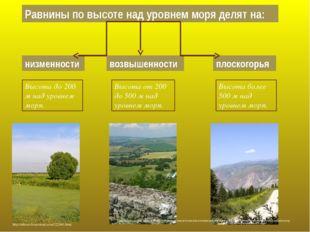 Равнины по высоте над уровнем моря делят на: низменности возвышенности плоско